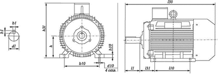 Чертеж: габаритные и присоединительные размеры электродвигателя 5АИ160S4 с лапами