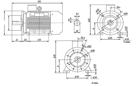 Чертеж: габаритные и присоединительные размеры электродвигателя 5АИ160S4 с фланцем